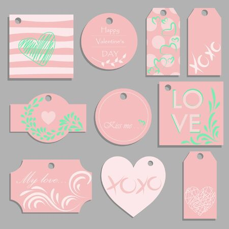 Valentines Day vector tags of romantic love holiday gifts. Festive labels, decorated by hearts, red and pink ribbons and bows, Be My Valentine and All You Need Is Love greeting card design