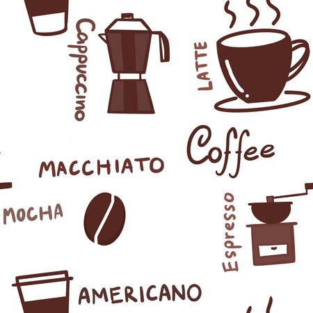 Seamless Hand draw pattern of coffee cup, moka pot, coffee grinder, coffee paper cup and wording such as cappuccino, macchiato, espresso, americano, mocha, latte in brown color on white background.