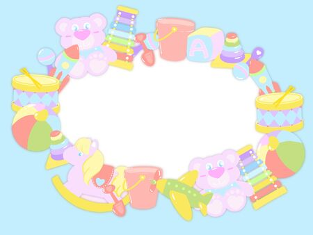 Hand draw toys in pastel color arrange in circle on light blue background as frame. in the middle has blank space for insert words, title, pictures, caption.