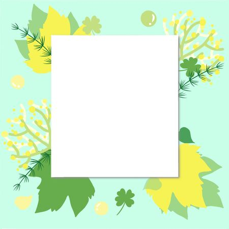 Hand draw mint color square frame full of leaves in green tone and yellow. in the middle has square blank space for insert words, title, pictures, caption.