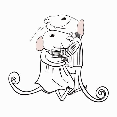 Two gray mice hug each other vector illustration