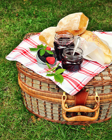 pectin: Fresh bread and blackberry and raspberry jams in jars for picnic. Stock Photo