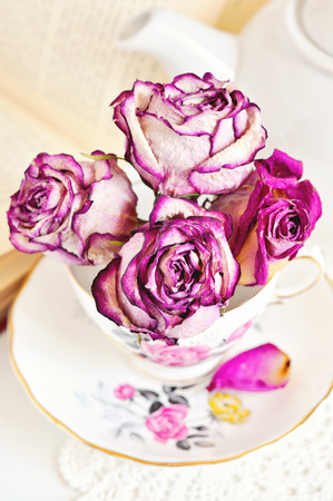 Dry roses and vintage porcelain tea set and a book, selective focus, toned image Stock Photo