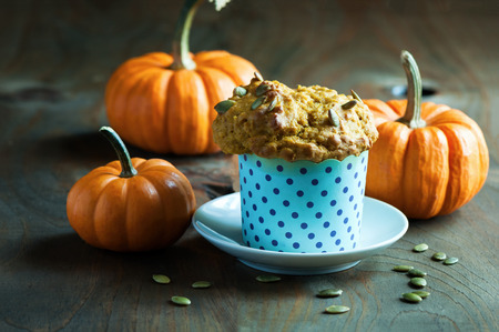 Pumpkin muffins, healthy vegan snack, Thansgiving and autumn dessert, selective focus, toned image