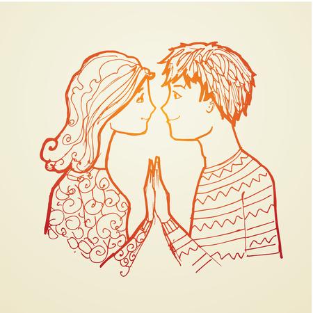 Novio y novia amor joven. Un hombre y de la mujer joven Ilustración de vector