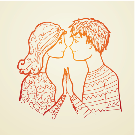 Boyfriend and girlfriend love young. A couple man and woman young Illustration