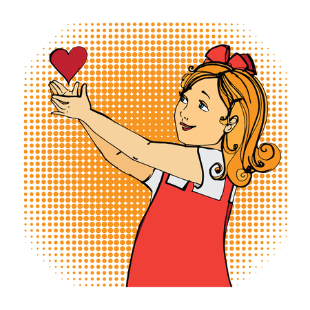 adolescent: Love red heart girl children. Cute girl in red dress