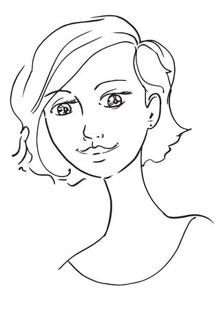 Hermosa Mujer Joven Bosquejo Mano Dibujo Gráficos Vectoriales De Contorno Ilustración Para Colorear Pelo Corto Corte De Pelo Kare
