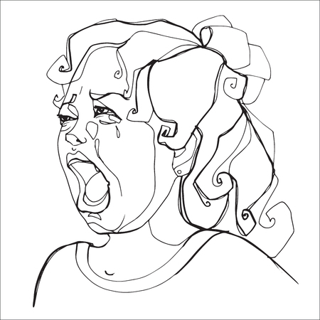 Young girl severely crying, human emotions. Sketch hand-drawing contour vector graphics. Illustration for coloring Stock Photo