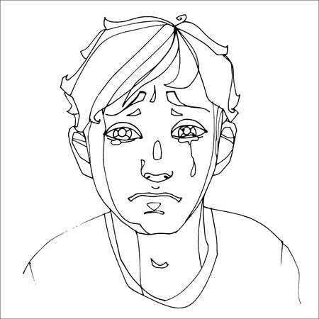 The boy crying heavily, human emotions. Sketch hand-drawing contour vector graphics. Illustration for coloring Stock Photo