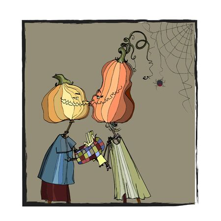 Halloween holiday. cute pumpkin character. seasonal illustration