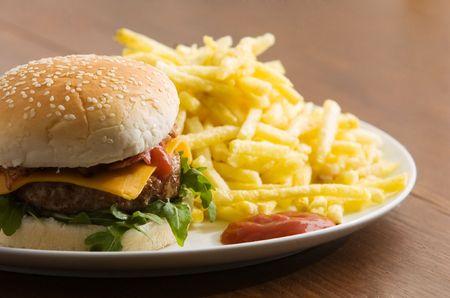 cheeseburger with fries and ketchup