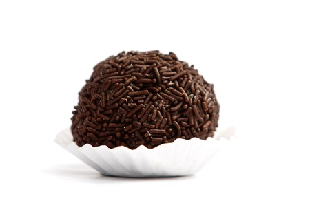 Brigadeer chocolate cake on white background