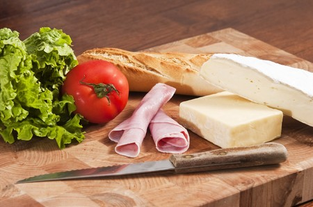 rustic french baguete with ham and cheese