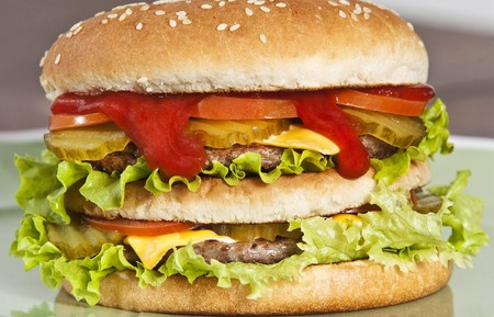 doubledecker: Cheeseburger with lettuce tomato and ketchup Stock Photo