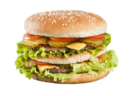 Cheeseburger with lettuce tomato and ketchup photo