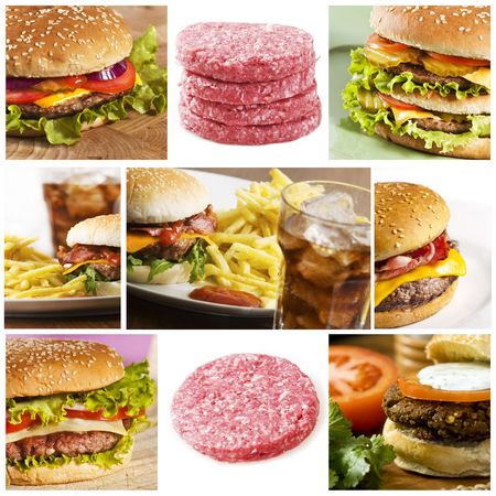 Fastfood collage with lots of hamburgers photo
