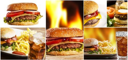 Hamburger collage with several burgers Stockfoto