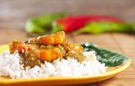 Prawn curry served  with basmati rice  Stockfoto