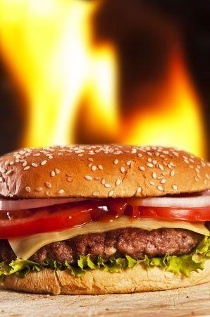 hamburger with onions tomato and ketchup photo