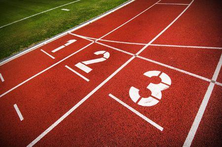 atletismo: Una pista de atletismo ol�mpico Foto de archivo