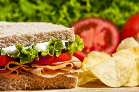 carb: Turkey sandwich with lettuce and tomato