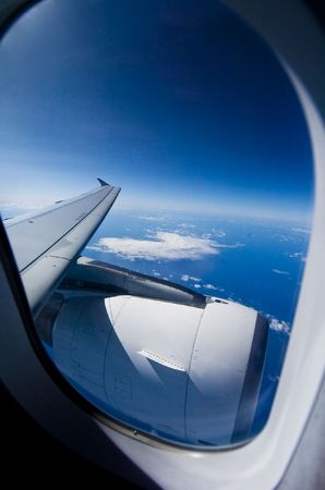 Looking out the window of a plane  photo