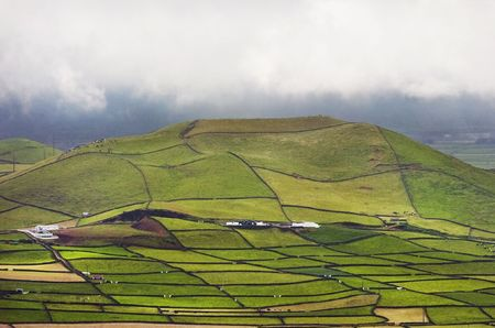 portugal agriculture: Farm fields in the Terceira island in Azores Stock Photo