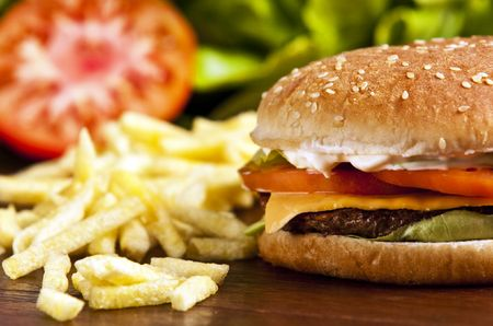 Cheeseburger with lettuce tomato and mayo Stockfoto