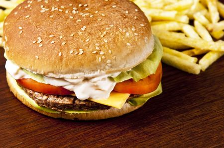 Cheeseburger with lettuce tomato and mayo Stock Photo - 5543880