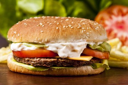 Cheeseburger with lettuce tomato and mayo Stock Photo - 5543887