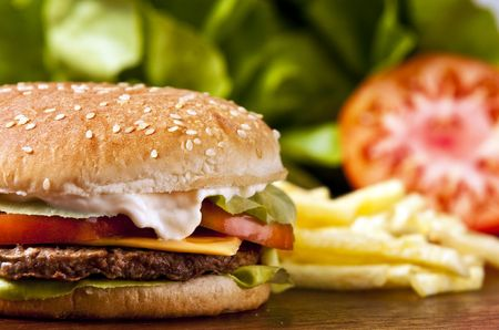 Cheeseburger with lettuce tomato and mayo Stock Photo - 5543881