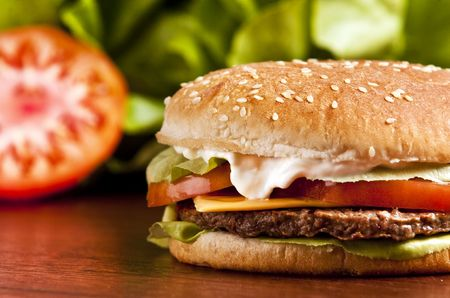 Cheeseburger with lettuce tomato and mayo Stock Photo - 5543877