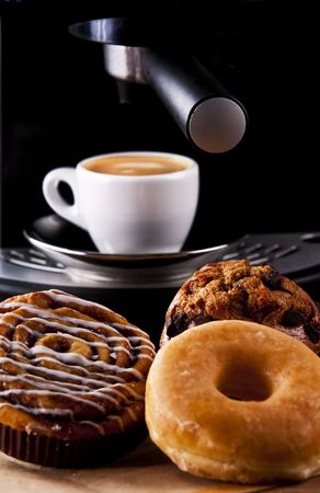 turkish dessert: Fresh doughnut and cookies with an espresso Stock Photo