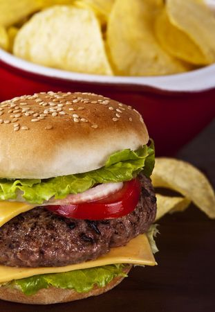 cheese burgers: Delicious hamburger with onion lettuce and tomato