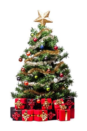 Christmas Tree with decorations on white background photo