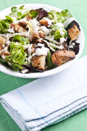 chicken caesar salad: Delicious chicken caesar salad with tasty dressing