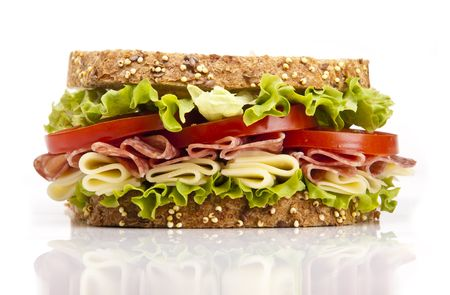 carb: Salami sandwich with cheese lettuce and tomato Stock Photo