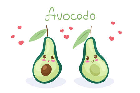 Sliced Avocado vector characters with hand drawn lettering isolated on white background. Cute cartoon nutritious vegetable. Kawaii style happy smiling healthy food mascot. Menu, fabric print design.