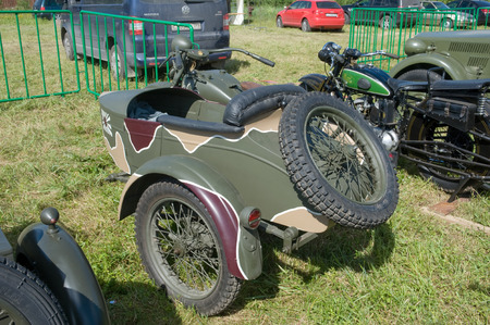 original bike: CHERNOGOLOVKA, MOSCOW REGION, RUSSIA -JUNE 21, 2013:  Japanese old military Rikuo motorcycle Type 97 at the 3rd international meeting of Motors of war near the city Chernogolovka