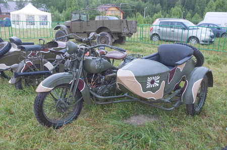 original bike: CHERNOGOLOVKA, MOSCOW REGION, RUSSIA -JUNE 21, 2013:  Japanese old military Rikuo motorcycle Type 97 at the 3rd international meeting of \Motors of war\ near the city Chernogolovka, front view Editorial
