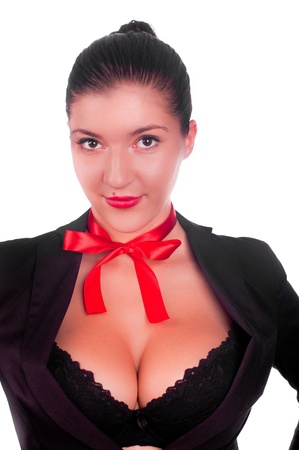 breast sexy: A beautiful sexy gril in a black anderwear with a red bow on her neck (isolated on white)