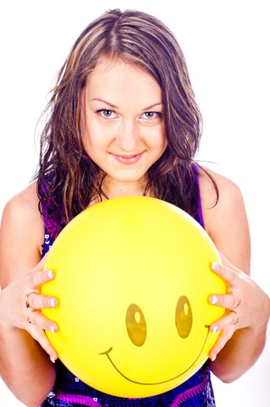 Woman with ballons in studio isolated on white Stock Photo