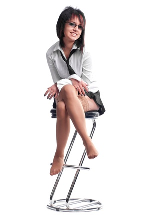 pretty woman isolated on white in studio Stock Photo