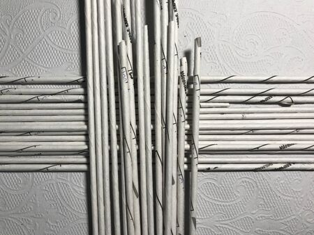 simple background of silver paper sticks for flat lay