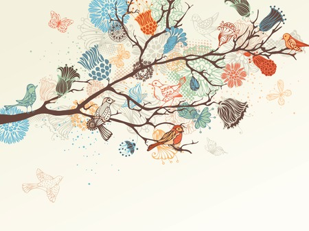 nature background. Ornate tree branch, flowers and birds background.  Vector