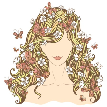 Spring woman. Illustration of woman with flowers and butterflies in her hair isolated on white background. Vector