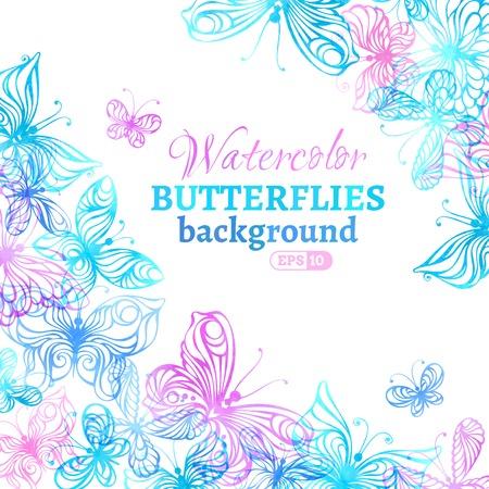 schmetterlinge blau wasserfarbe: Aquarell bunten Schmetterlingen Hintergrund. Vektor-Illustration. Es gibt Platz für Ihren Text in der Mitte.
