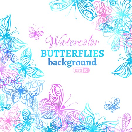 Watercolor colourful butterflies background. Vector illustration. There is place for your text in the center. Illustration