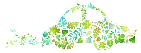 car garden: ECO car. Green car from leaves isolated on white background.